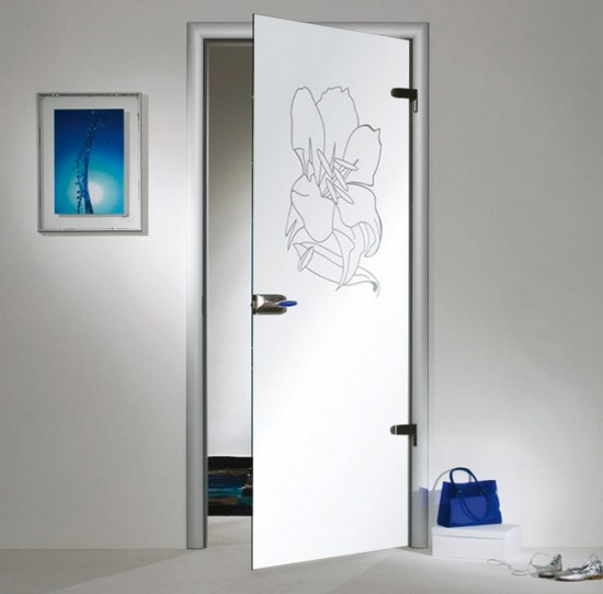Стеклянные маятниковые двери