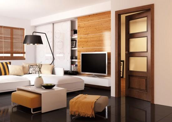 Шпонированные двери на первый взгляд сложно отличить от дверей из массива