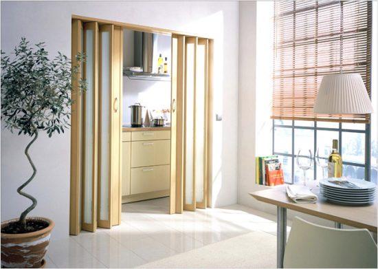 Дверь-гармошка со вставкой из матового стекла