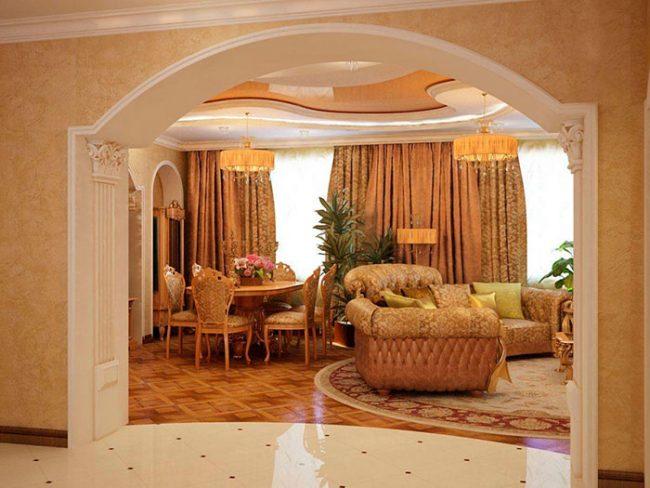 Оформить арку в квартире можно множеством материалов